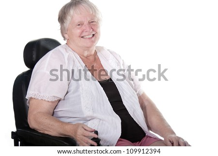 senior woman in wheel chair - stock photo