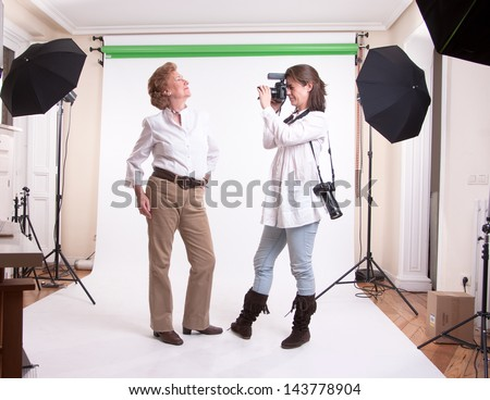 Senior woman modeling on a shooting session