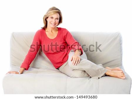 Senior woman portrait. Isolated on white background. - stock photo