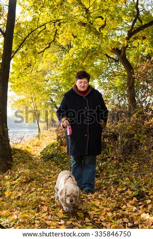Senior woman walking with a dog in autumn park - stock photo