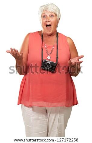 Senior Woman Wearing Camera Shrugging Isolated On White Background - stock photo