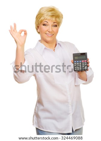 Senior woman with calculator isolated - stock photo