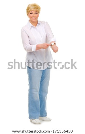 Senior woman with clocks isolated