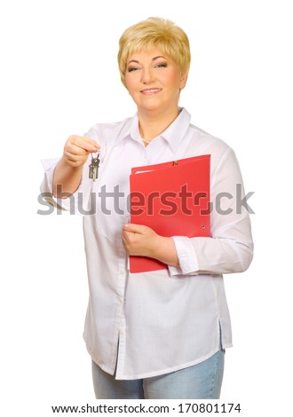 Senior woman with folder and keys isolated - stock photo