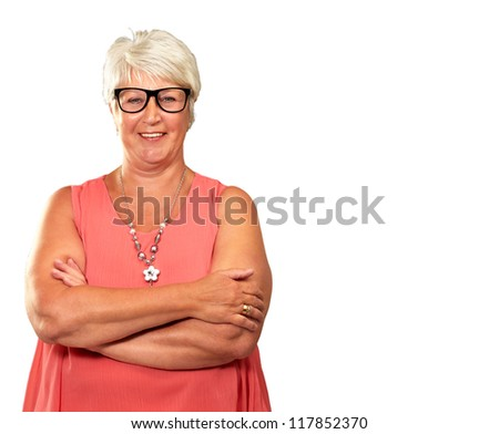 Senior Woman With Hands Folded Isolated On White Background - stock photo