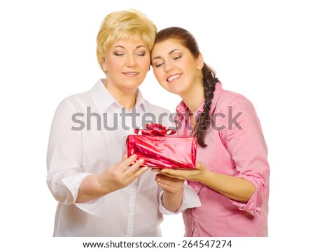 Senior woman with her daughter isolated - stock photo
