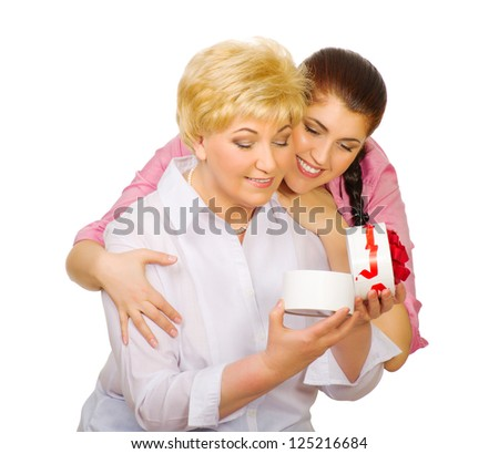 Senior woman with her dauhter isolated - stock photo