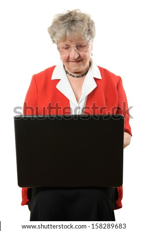 Senior woman with notebook isolated on white