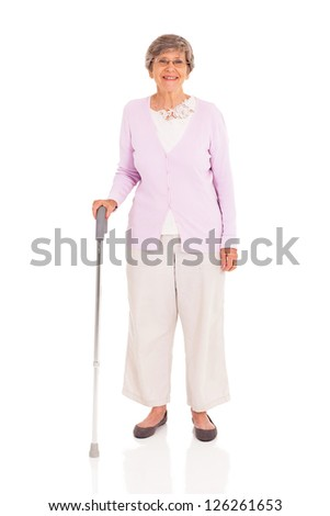 senior woman with walking cane isolated on white background