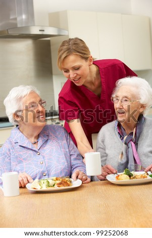 Senior women with carer enjoying meal at home - stock photo