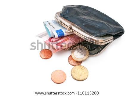 Seniors wallet with Euro currency. Debt and poverty