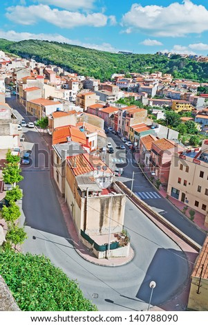 Sennori seen from above on a cloudy day - stock photo