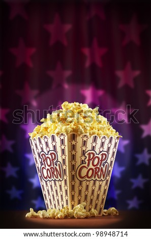Sensational american popcorn on stage - stock photo