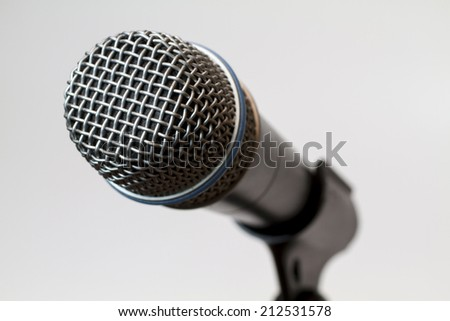 Sensitive condenser microphone recording instruments.gray,blue, - stock photo