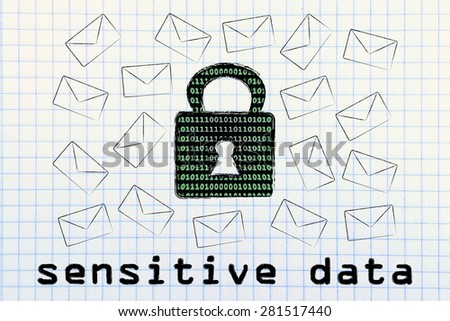 sensitive data security and encryption: lock with binary code texture surrounded by flying mails - stock photo
