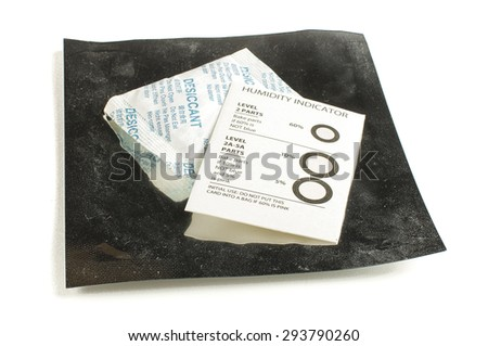 Sensitive electronic packing electrostatic bag, humidity indicator card and desiccant bag isolated on the white background