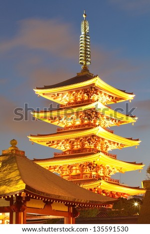 Sensoji  also known as Asakusa Kannon Temple  is a Buddhist temple located in Asakusa, Tokyo, Japan - stock photo