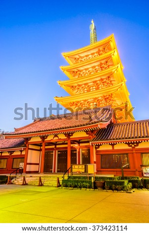 Sensoji Temple in Tokyo at Japan on Twilight times - Boost up color processing style