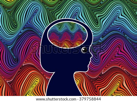 Sensory Overload in Children. Young girl suffering from sensory overload due to unfiltered perception - stock photo