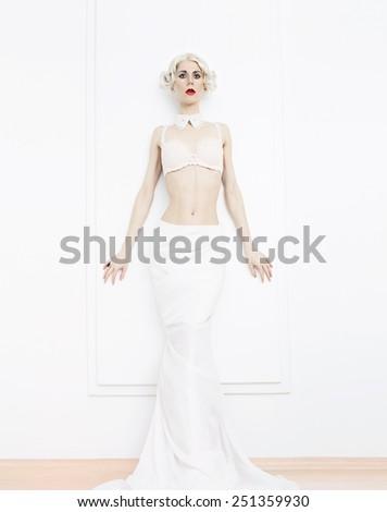 Sensual blond Woman in white interior. Underwear. Luxury style. Wedding style. - stock photo