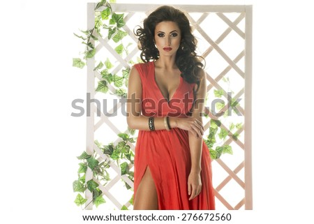 Sensual brunette woman posing in studio - stock photo