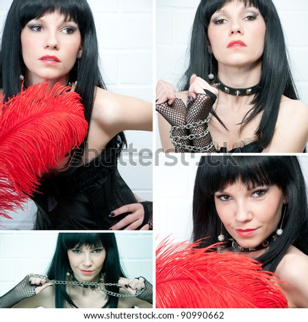 Sensual dark-haired young caucasian woman, sadomaso style, collage - stock photo