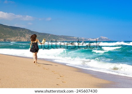 sensual girl on beach, Sardinia