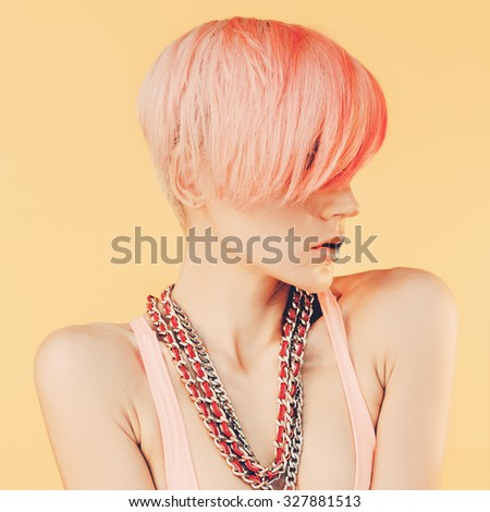 Sensual Girl with fashionable Hair. Color hair trend
