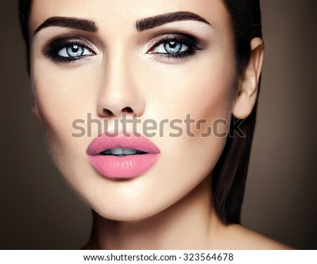 sensual glamour portrait of beautiful  woman model lady with fresh daily makeup with nude lips color and clean healthy skin face  - stock photo