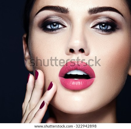 sensual glamour portrait of beautiful  woman model lady with fresh daily makeup with pink lips color and clean healthy skin face  - stock photo