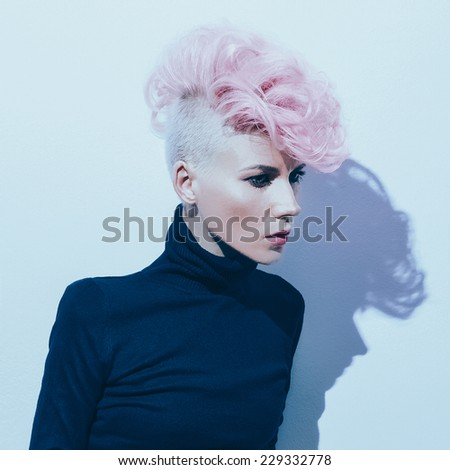 Sensual Model with fashionable Hairstyle. Colored Hair trend - stock photo