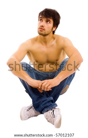 Sensual muscular man isolated on white background