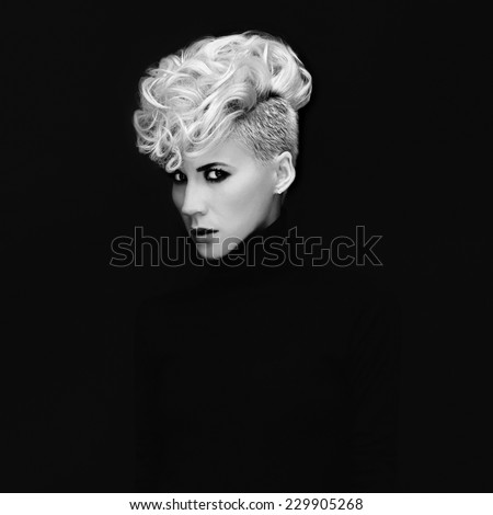 Sensual Portrait Lady with fashionable Hairstyle on black background - stock photo