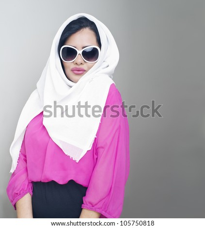 sensual portrait of a fresh beauty arabian girl with hijab - stock photo