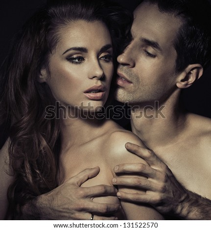 Sensual portrait of a loving couple - stock photo