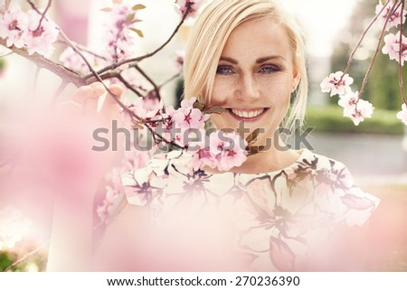 Sensual portrait of a spring woman, beautiful face, blonde - stock photo