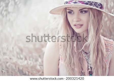 Sensual portrait of a woman, a beautiful woman's face, dreamy girl on the street, seasonal, glamorous lady - stock photo