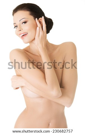 Sensual portrait of beautiful caucasian woman.