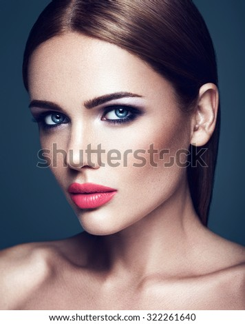 sensual portrait of beautiful  woman model lady with fresh daily makeup with pink lips and clean healthy skin face  - stock photo