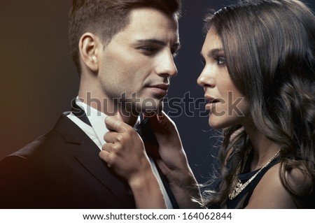 Sensual portrait of cute couple  - stock photo