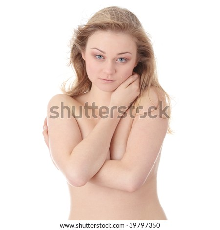 Sensual portrait of nude beautiful young blond caucasian woman, with tears in her eyes and wind in her hairs