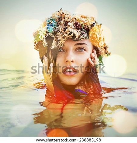 "sensual portrait of woman in the water (""instagram"" filter applied) - stock photo"