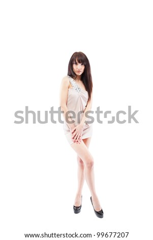 sensual woman full length posing in a evening sort dress, sexy girl portrait isolated over white background