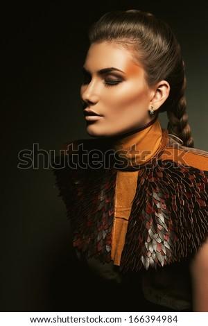sensual woman in brown accessory - stock photo