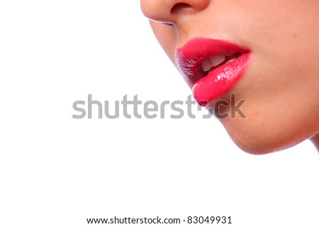 sensual woman lips colored with red lip gloss on face isolated on white - stock photo