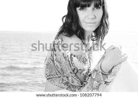 Sensual woman portrait outdoors, black and white photography - stock photo