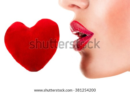 sensual woman red lips with red heart