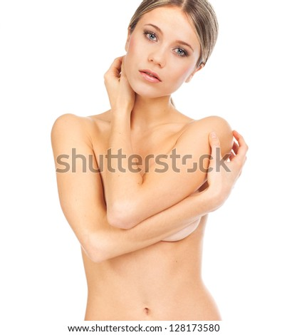 Sensual young woman undressed with healthy skin, on white