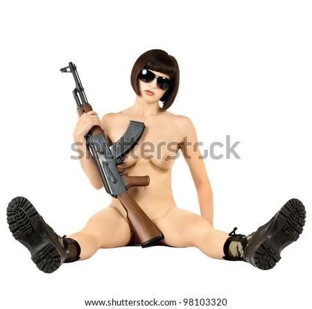 sensuality  beautiful sexy girl  with  submachine gun, on white background,  isolated - stock photo