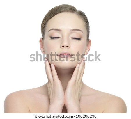 Sensuality young beautiful woman with closed eyes - white background - stock photo